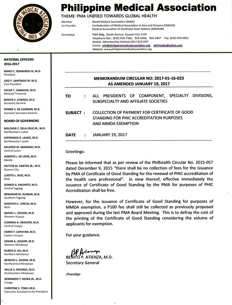 Memo Circular re Collection of Payment for COGS of MMDA Philhealth